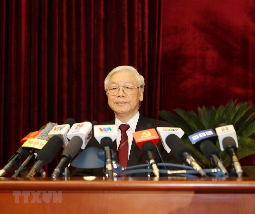 Tổng Bí thư Nguyễn Phú Trọng phát biểu bế mạc Hội nghị. Ảnh: Trí Dũng/TTXVN