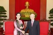 Tổng Bí thư Nguyễn Phú Trọng tiếp Cố vấn Nhà nước Myanmar