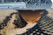 Mưa lớn gây hư hại một sân vận động ngay sau World Cup 2018