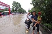 Hà Nội: Hết mưa, đoạn khu đô thị An Khánh vẫn bị ngập nước
