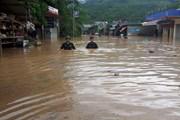 [Photo] Biển nước mênh mông sau khi bão số 4 tràn vào đất liền