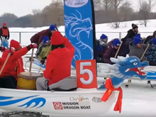 [Video] Kỳ thú cuộc đua thuyền rồng trên băng tại Canada