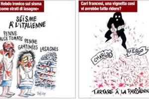 Báo Italy trả đũa Charlie Hebdo vì tranh biếm họa nạn nhân động đất