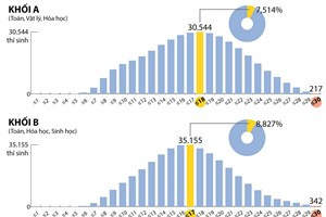 [Infographics] Phổ điểm thi THPT Quốc gia 2017 theo khối