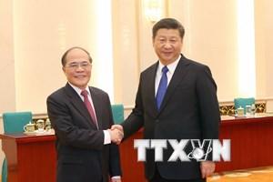 Chủ tịch Quốc hội Nguyễn Sinh Hùng hội kiến Chủ tịch Trung Quốc