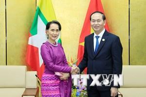 Chủ tịch nước Trần Đại Quang gặp Cố vấn Nhà nước Myanmar
