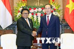 Chủ tịch nước Trần Đại Quang tiếp Chủ tịch Thượng viện Indonesia