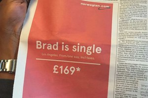 """""""Brad đang độc thân"""" - quảng cáo hài hước của hãng hàng không Na Uy"""