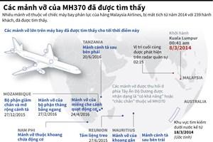 [Infographics] Các mảnh vỡ của MH370 đã được tìm thấy