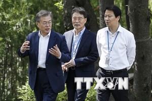 Tổng thống Hàn Quốc Moon Jae-in đến làng đình chiến Panmunjom