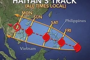 Siêu bão Haiyan đi vào đất liền sẽ ở cấp 12, cấp 13