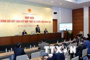 Họp báo công bố kết quả kỳ họp thứ 10 Quốc hội khóa XIII