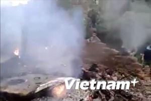 [Video] Cận cảnh vụ máy bay trực thăng rơi ở Thạch Thất
