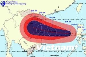 Bão số 9 tiến gần khu vực các tỉnh miền Trung