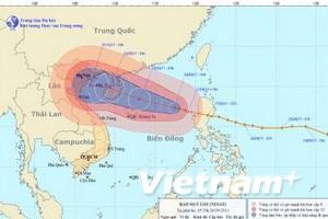 Sức gió ở vùng gần tâm bão Nesat mạnh cấp 13