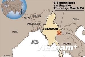 Myanmar lại có động đất