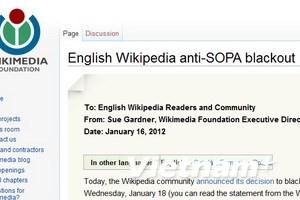 Wikipedia ngưng 24 giờ phản đối chính quyền Mỹ