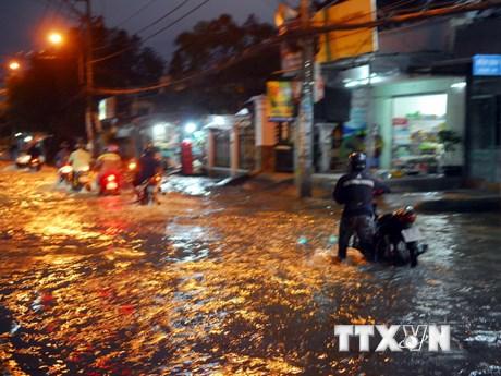 TP.HCM: Hình ảnh nhiều tuyến đường biến thành sông do triều cường