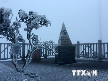 [Photo] Ngỡ ngàng ngắm băng giá phủ trắng Fansipan vào tháng Tư