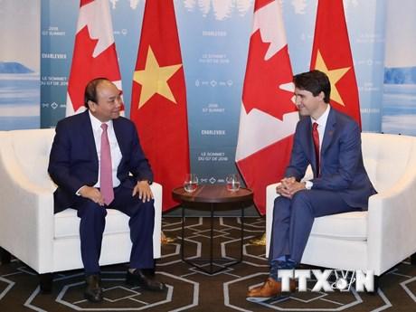 Hình ảnh Thủ tướng Nguyễn Xuân Phúc hội đàm với Thủ tướng Canada