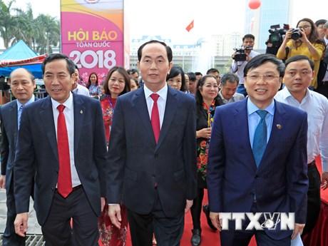 Hình ảnh Chủ tịch nước tới dự bế mạc Hội Báo Toàn quốc 2018