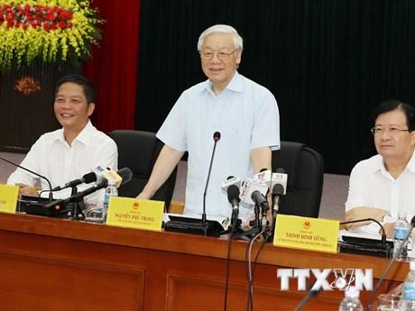 Hình ảnh Tổng Bí thư Nguyễn Phú Trọng làm việc với Bộ Công Thương