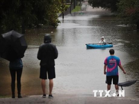 """[Photo] Hình ảnh người dân Mỹ """"bơi"""" trên phố sau siêu bão Harvey"""