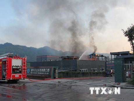 Hiện trường vụ nổ tại nhà máy hóa chất ở Trung Quốc