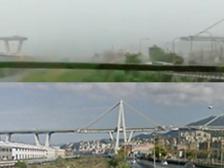 [Photo] Cận cảnh cầu cao tốc ở Italy trước và sau khi đổ sập