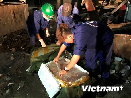 Cận cảnh tiêu hủy hơn 11 tấn nầm lợn nhập lậu, không rõ nguồn gốc