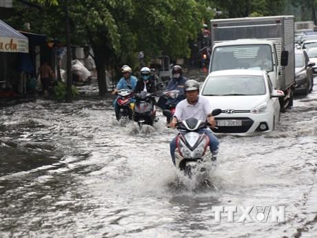 Hình ảnh đường phố TP HCM ngập úng trong cơn mưa lớn đầu mùa