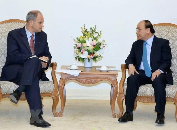 Thủ tướng Nguyễn Xuân Phúc tiếp Ngài Christian Berger, Đại sứ Cộng hoà Liên bang Đức tại Việt Nam. (Ảnh: Thống Nhất/TTXVN)