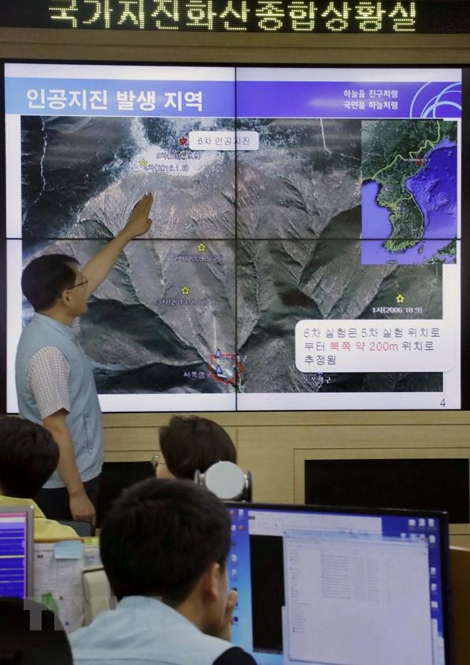 Bản đồ bãi thử hạt nhân Punggye-ri của Triều Tiên. (Nguồn: EPA-EFE/ TTXVN)