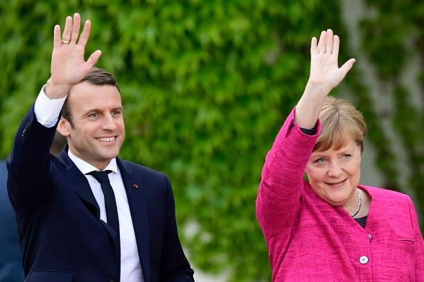 Tổng thống Pháp Emmanuel Macron và Thủ tướng Đức Angela Merkel. (Nguồn: AFP)