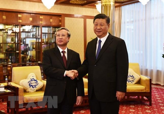 Tổng Bí thư, Chủ tịch Trung Quốc Tập Cận Bình tiếp Thường trực Ban Bí thư Trần Quốc Vượng. Ảnh: Lương Tuấn/TTXVN