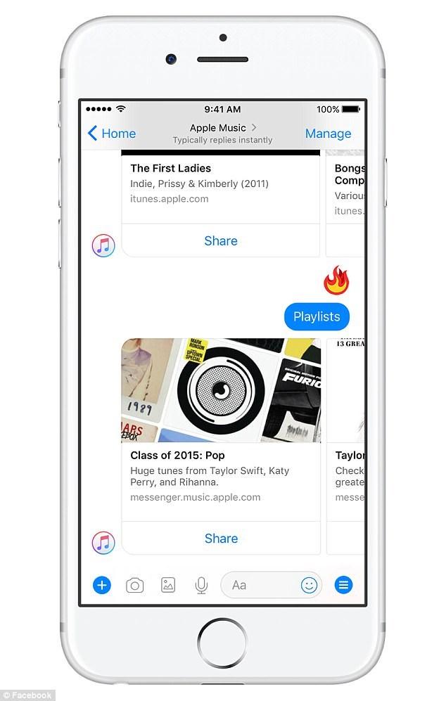 Apple Music hỗ trợ nghe, chia sẻ nhạc trong Facebook Messenger - ảnh 2