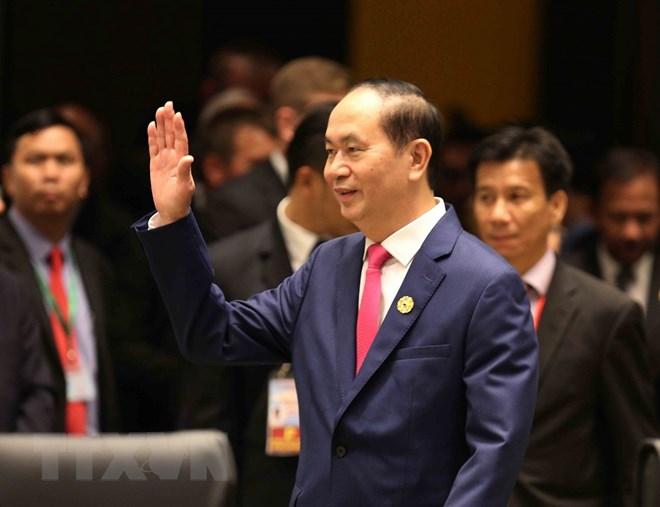 Chủ tịch nước Trần Đại Quang đến dự phiên họp. (Nguồn: TTXVN)