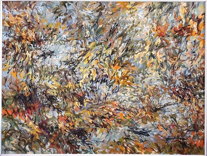 Bức họa Giai điệu của tre. Nguồn: FB họa sỹ Hoàng Định