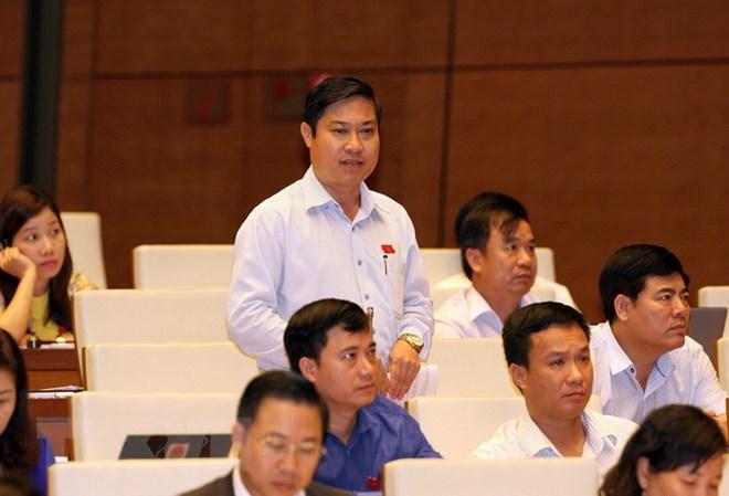 Đại biểu Quốc hội tỉnh Quảng Nam Phan Thái Bình phát biểu. (Ảnh: Nguyễn Dân/TTXVN)