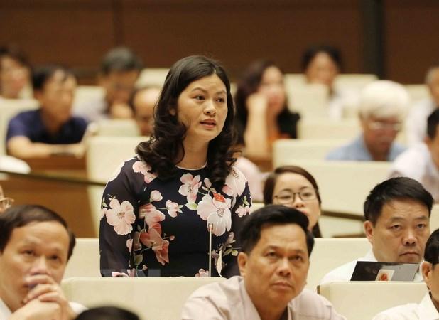 Đại biểu Quốc hội tỉnh Hà Giang Vương Ngọc Hà phát biểu. (Ảnh: Phương Hoa/TTXVN)