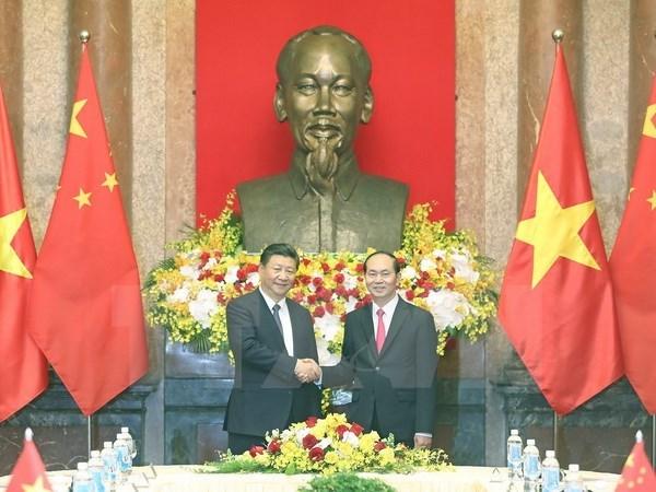 Chủ tịch nước Trần Đại Quang hội đàm với Tổng Bí thư, Chủ tịch Trung Quốc Tập Cận Bình thăm cấp Nhà nước tới Việt Nam. (Ảnh: Nhan Sáng/TTXVN)
