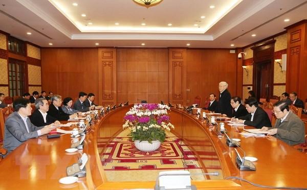 Tổng Bí thư Nguyễn Phú Trọng phát biểu kết luận cuộc họp. (Ảnh : Trí Dũng/TTXVN)