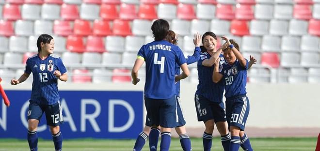Các cầu thủ nữ Nhật Bản ăn mừng chiến thắng (Nguồn: AFC)