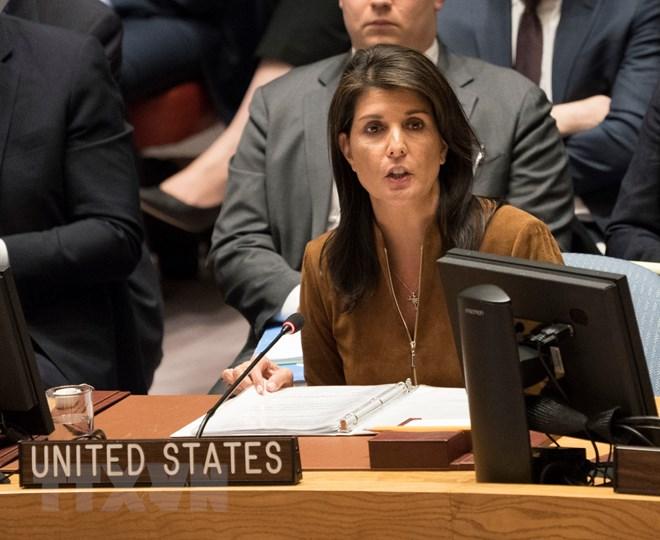 Đại sứ Mỹ tại Liên hợp quốc Nikki Haley. (Nguồn: AFP/TTXVN)