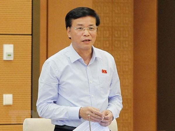 Tổng Thư ký Quốc hội Nguyễn Hạnh Phúc phát biểu. (Ảnh: Văn Điệp/TTXVN)