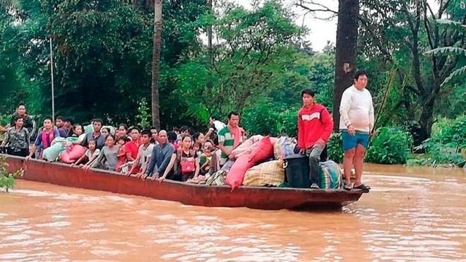 Trận lụt do vỡ đập thủy điện ở Lào đã khiến khoảng 1.300 hộ dân bị ảnh hưởng. Nguồn: Agencies
