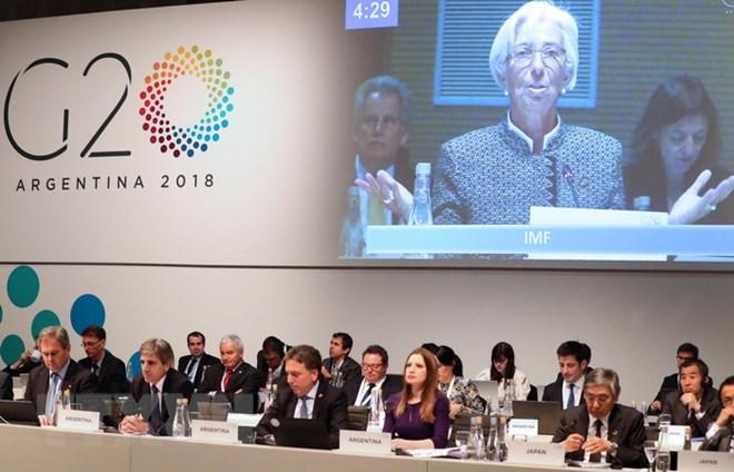 Tổng Giám đốc IMF Christine Lagarde phát biểu tại hội nghị Bộ trưởng Tài chính và Thống đốc Ngân hàng G20 ở Buenos Aires, Argentina ngày 21-7. Ảnh: EPA-EFE/TTXVN