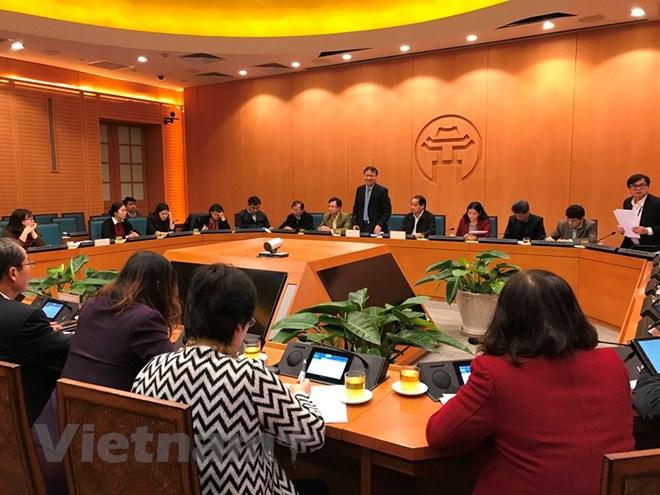Bộ Công Thương làm việc với Ủy ban Hà Nội về hàng hóa phục vụ Tết Nguyên đán. (Ảnh: Đức Duy/Vietnam+)